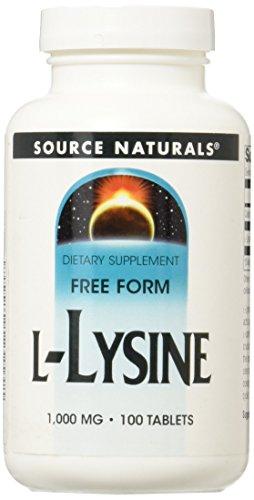 Source Naturals, L-Lysine, 1000mg, 100 Comprimés végétariens, sans gluten, sans soja