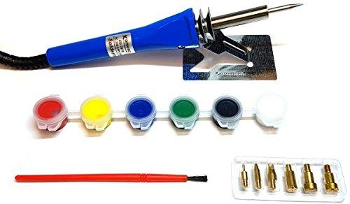 Komerci ZD-707B Brandmal-Gravur-Set Blau mit Farben Lötkolben Gravurset Brandmalkolben Gravustempel Holz Leder