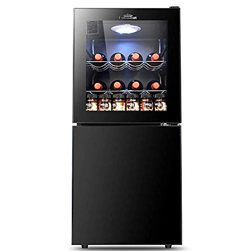 SHKUU 2021 nieuwe wijnkoelkast koelkast / koeler, dubbele partitie: wijngebied + vriezer, temperatuurinstelling met 5 snelheden, tafelmodel koelkast met glazen deur, geschikt voor hotelbar cosmetische slaapkamer bier