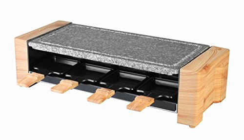 Artestia Electric Raclette Grill with High Density Granite Grill Stone,1450W High Power ETL Certified, Two-Tier Separate Heat Source for Plate/Side Dishes,Serve the whole family (Grill Stone Raclette)