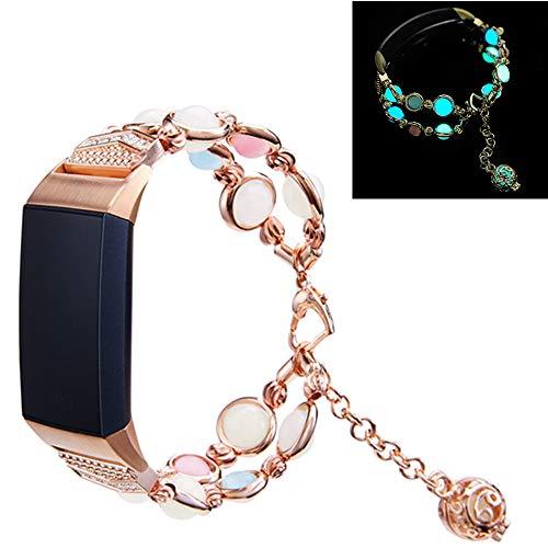 Yimiky Correa de reloj para Firbit Charge 4, hecha a mano con perlas de imitación de piedra natural nocturna luminosa pulsera de mujer para Fitbit Charge 3/Charge 4 (oro rosa)
