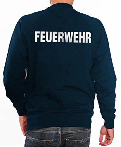 feuer1.de Sweater FEUERWEHR in navy mit silber reflektierendem beidseitigem Schriftzug