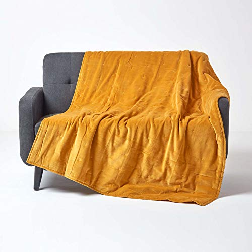 Homescapes zachte fluwelen sprei/omslag/omkeerbare deken 150 x 200 cm in geel - 100% katoen en katoenfluweel - ideaal als deken, gezellige deken of bankovertrek, mosterdgeel