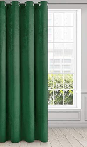 Eurofirany Vorhang Samt Velvet Schimmernd Gardine - Kräuselband Weich Schlafzimmer Wohnzimmer Lounge Edel, Stoff, Dunkelgrün, 140x250 cm