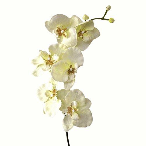 Kunstblume Orchideenzweig 78cm. Farbe weiß CREME-48