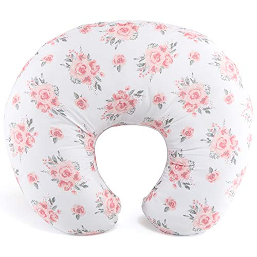 The Peanutshell Pink Floral Nursing Pillow for Breastfeeding | Pillow & Nursing Pillow Cover for Baby Girls