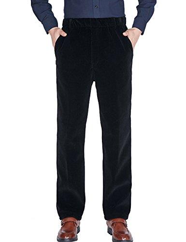 Zoulee Men's New Elastic Waist Velvet Corduroy Casual Pants Black L