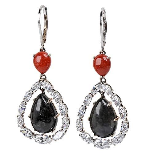 Jade of Yesteryear oorbellen van echt zilver 925 geoxideerd vintage look jade zwart en oranje voor dames