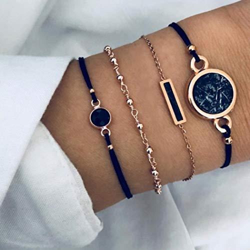 Simsly Juego de 4 pulseras de corazón con cuentas de oro turquesa y cadena de fantasía para mujeres y niñas