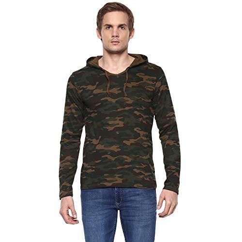 Urbano Fashion Men's Green Camouflage Hooded Full Sleeve T-Shirt (Camou-Hood-grn-s-FBA)