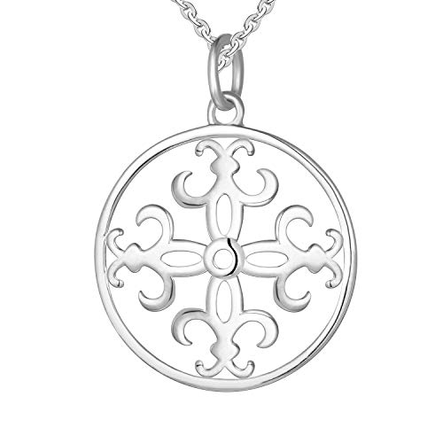 JO WISDOM Vrouwen Ketting,925 Sterling Zilveren Iris Bloem Antieke Hanger Ketting
