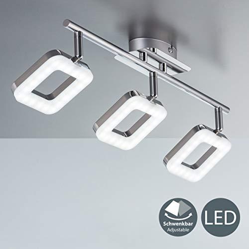 Plafoniera LED moderna, LED integrati 3 x 4 W, luce calda 3000K, 3 luci orientabili a forma quadrata, lampada da soffitto, corpo metallo cromato, lampadario per soggiorno o camera da letto, 230V IP20