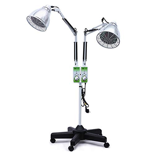 Best Review Of WSN Red Light Therapy Lamp, Double Head Infrared Physiotherapy with Stand Flexible Ar...