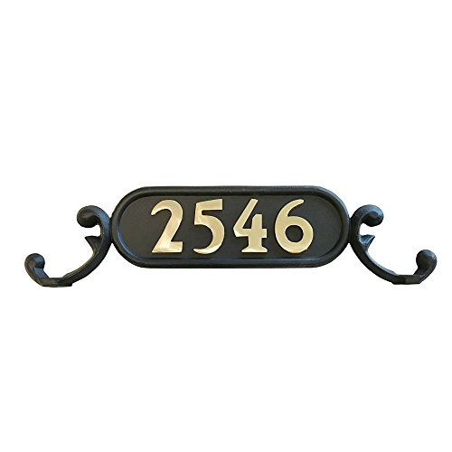 ADDRESSES OF DISTINCTION Charleston Mailbox Address Plate – Mailbox Plaque With Solid Brass Numbers – Customized House Digits – Double Sided Sign – Rust Proof Aluminum - Hardware Included