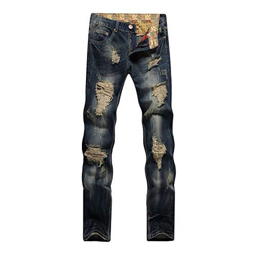Beastle Pantalones Vaqueros para Hombre Pantalones Vaqueros Ajustados de Pierna Recta Rasgados de Moda Retro Europeos y Americanos Vaqueros de Moda Personalizados 40