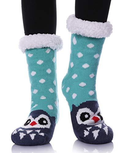Dosoni Womens Girls Faux Fur Fuzzy Winter Asymmetric Cartoon Animal Cute Fleece-lined Winter Slipper Socks with Grippers (Blue Dot Owl)