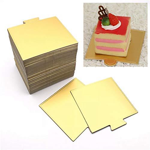 Maygone 100 placas de cartón desechables cuadradas de color dorado para tartas de mousse Cupcake postre exhibiciones
