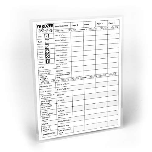 YARDZEE SCORE CARD with Rules on the back- Laminated Yardzee Score Card, Reusable Score Card, Size- 8.5' x 11', and possible Yard Farkle Score Card