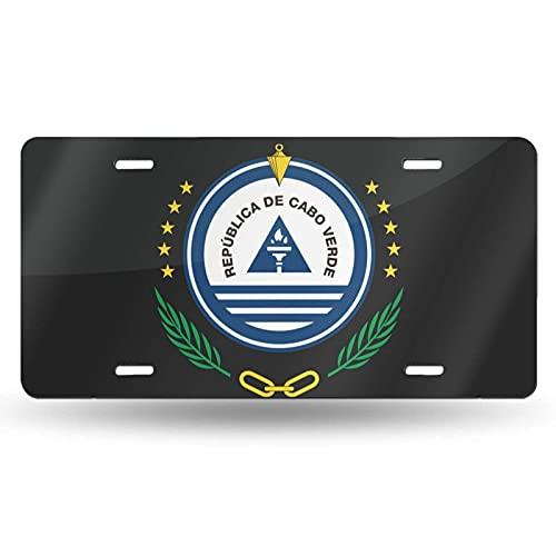 AOOEDM National Emblem of Cape Verde Cotton License Plate Aluminum Novelty License Plate Decorative Front Plate 6 X 12 Inch