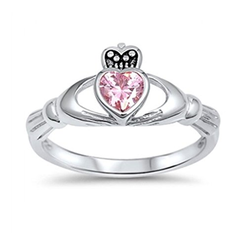 Sterlingsilber-Rosa-Farbe Zirkonia Claddagh Ring