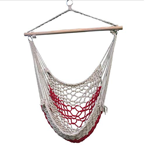 M/P Hammock Hanging Chair, Thick Cotton Rope Mesh Hanging Swing Chair Seat, Comfortable Sturdy Capacity 350 Lbs, for Indoor, Outdoor, Home, Patio, Yard and Garden