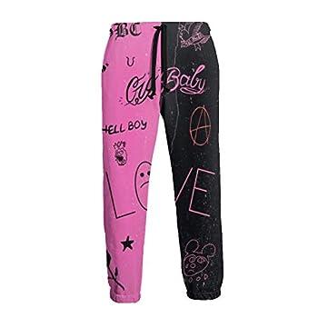 Lil Hip Hop Rap Peep Men s Sweatpants Open Type Pocket Jogger Drawstring Elastic Casual Sports Pink Small