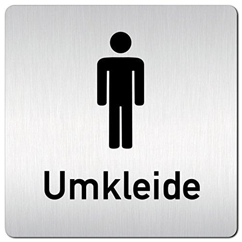 Kinekt3d Leitsysteme XXL Schild - Türschild • 125 x 125 mm • Umkleide Umkleideraum Herren Piktogramm • 1,5 mm Aluminium Vollmaterial • 100% Made in Germany