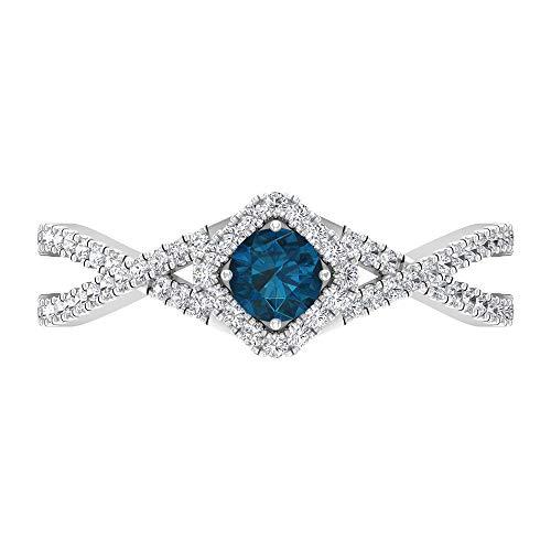 Anillo de diamante y topacio azul Londres de 3/4 quilates, anillo de compromiso con halo solitario con piedras laterales, 14K Oro blanco, Size:EU 48