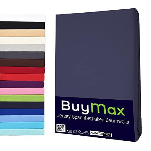 Buymax Spannbettlaken 140x200-160x200 cm Spannbetttuch Bettlaken 100% Baumwolle Jersey Bettbezug für Matratzen bis 25 cm Steghöhe, Anthrazit