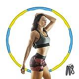 Aikove Hula Hoop, Hula Hoop de Fitness para niños, Hula Hoop de Espuma Desmontable de 8 segmentos con Cuerda para Saltar, Ajustable 72-96cm, para la pérdida de Peso y el Ejercicio (Amarillo-Azul)