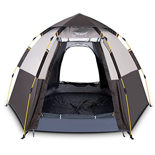 HEWOLF Campingzelt 3-4 Personen Pop Up Zelt Großes Familienzelt Wurfzelt Kuppelzelt Wasserdicht UV-Schutz Doppelschicht Sechseckiges Sekundenzelt 4 Saison Camping Zelt mit Tragetasche Grau