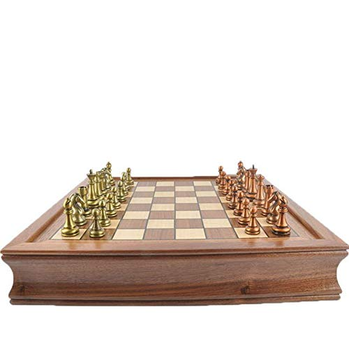 NBALL-TT Schach-Set Metall Schachfiguren Aus Holz Faltbare Schach Brettspiel Handgemachte Crafted Chessmen Travel International Brettspiele Für Kinder Erwachsene
