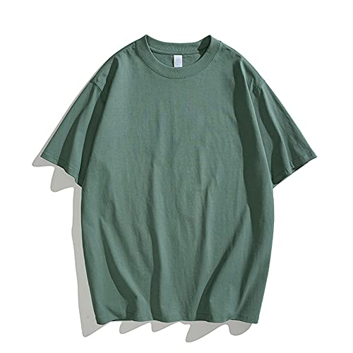 Camiseta de algodón para hombre de un solo color, camiseta básica de verano, camiseta informal de manga corta y cuello redondo, color negro, vino, verde, verde menta, verde militar verde menta XL