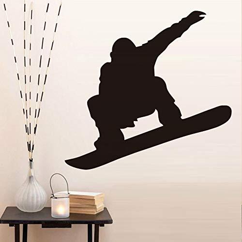 BailongXiao Kinder Lieblingsspieler Silhouette Snowboard Wandtattoos Wohnkultur Wohnzimmer Wandaufkleber für Kinderzimmer schwarz