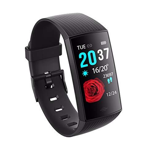 Glowjoy Fitness Armband mit Pulsmesser,Wasserdicht Fitness Tracker Aktivitätstracker Blutsauerstoff Smartwatch Schrittzähler Uhr Schlafmonitor Sedentary Reminder für Damen Herren (Schwarz)
