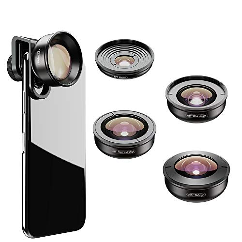 WQYRLJ 5 in 1 HD telefoon Lens Kit, 170°Super Wide Angle, 10X Macro Lens,110° Wide Angle2.0X Zoom Telephoto,195°Fisheye Lens voor Iphone en Android Smartphones