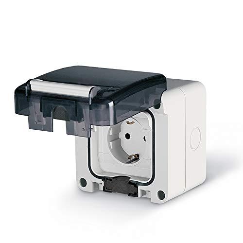 Aufputz oder Unterputz Schuko Feuchtraum Steckdose IP66 Hergestellt in der EU mit passende Stecker (Aufputz ohne Schalter)