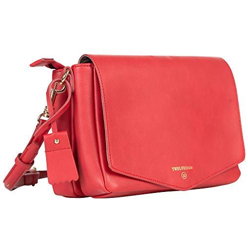 TWELVElittle Peek-A-Boo Crossbody (rot) – veganes Leder Inklusive Feuchttücheretui, kleiner, modischer Wickeltasche, passend für das Wesentliche, kleine Wickeltasche für unterwegs