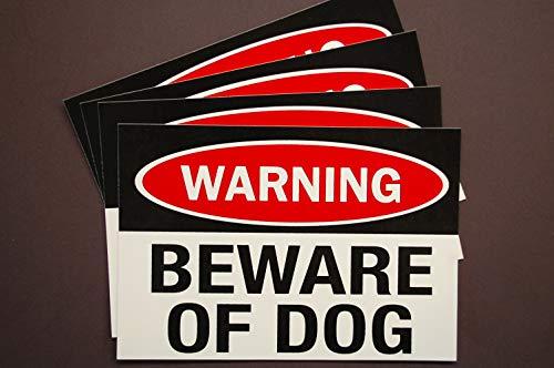 Warning - Beware of Dog Stickers Vinyl Decals (Set of 4!) 5' X 3.5' Indoor Outdoor Waterproof Service Dog Working K9 Car Window Home Security (X4PS12)