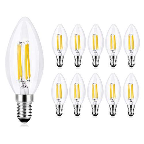 Wedna Bombillas Vela de Filamento LED E14, 4W equivalente a 40 W, 420 Lúmenes Blanco Cálido 2700K, No regulable - Pack de 10