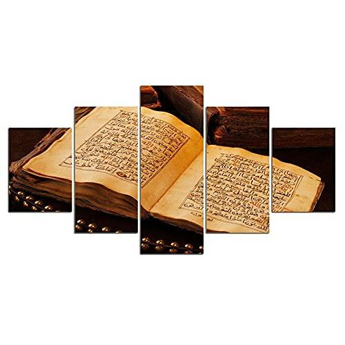 DFJDF Immagine 5 Pezzi Artistica della Parete Quadro Moderno 5 Pz Stampa su Tela Religione Libro Sacro Antico Arredamento Arte Soggiorno Murale Decorazione