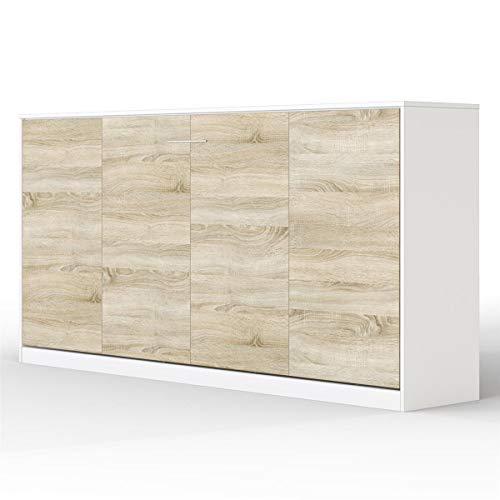 SMARTBett Basic 90x200 Horizontal Weiss/Eiche Sonoma Schrankbett | ausklappbares Wandbett, ideal geeignet als Wandklappbett fürs Gästezimmer, Büro, Wohnzimmer, Schlafzimmer