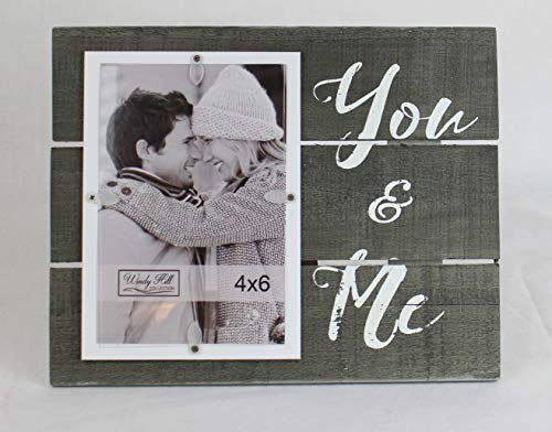 4 x 6 You & Me Wall or Table Top Picture Photograph Frame made of Real Wood Slats 694000