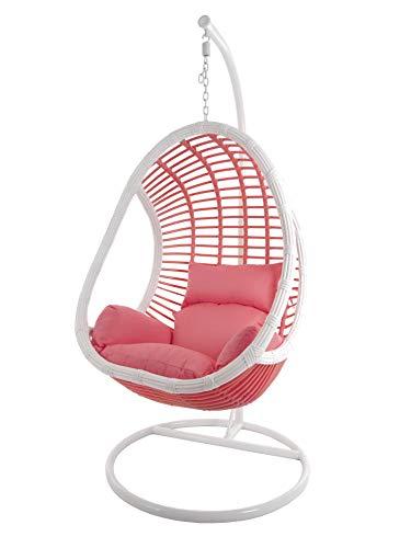 Kideo® Komplettset: Hängesessel mit Gestell & Kissen, Indoor & Outdoor, Poly-Rattan, Lounge (Wicklung: weiß/pink Skyline, Kissen: pink Nest (3223 Coral))
