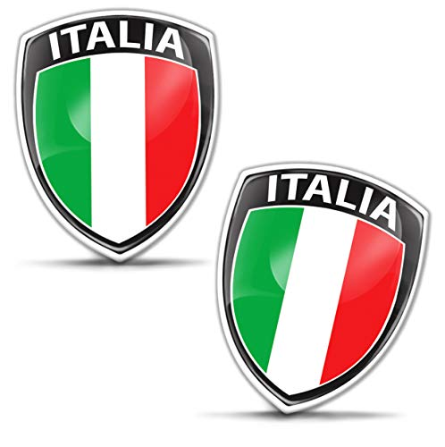 Biomar Labs® 2 x Aufkleber 3D Gel Silikon Abzeichen Stickers Auto Motorrad Fahrrad Fenster Tür PC Handy Tablet Laptop Italy Italien Italienisch Italian Flagge Fahne Flag F 148
