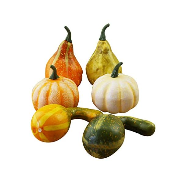 Lxhff 6Pcs Halloween Artificial Pumpkin Figurine Mini Fake Fruit Lifelike Vegetables Photography Props for Fall Harvest Thanksgiving Party Decor