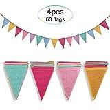 Crislove Wimpelkette, 4er Pack 5M Mehrfarbig Dreieck Flaggen, 15 Farben jedes Banner, Leinenimitat...