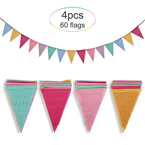 Crislove 60pcs Guirnalda Banderas Banderines Arpillera de Imitación Pancarta Triángulo Decoración Colgante de Boda Bautizo Fiesta Cumpleaños Navidad (4 Cadenas * 15 Banderas)