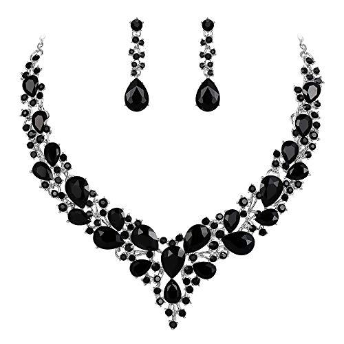 Clearine Damen Hochzeit Braut Österreichen Kristall Tropfen Cluster Statement Halskette Dangle Ohrringe Schmuck Set Schwarz Silber-Ton