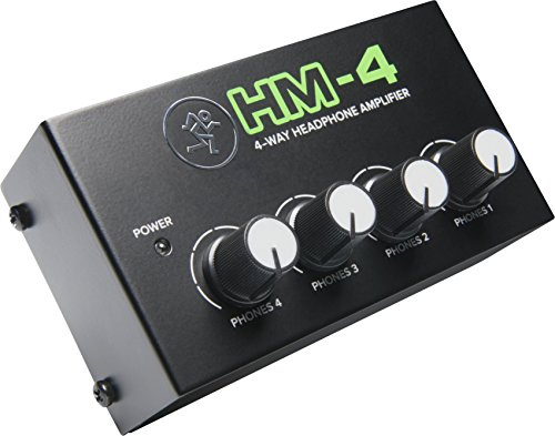 headroom headphone amps Mackie HM Series, 4-Way Headphone Amplifier Mixer Accessory 1-ch x 4 headphones (HM-4) , Black